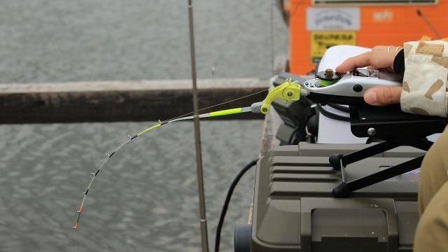 ワカサギリールを使って釣りを楽しんでいる様子